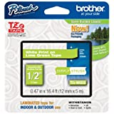 """Brother Tze-mqg35 White On Lime Green Label Tape - 0.47"""""""" Width X 16.40 Ft Length - Rectangle - Dire"""
