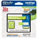 "Brother P-touch ~1/2"" (0.47"") White on Lime Green Standard Laminated Tape - 16.4 ft. (5m)"