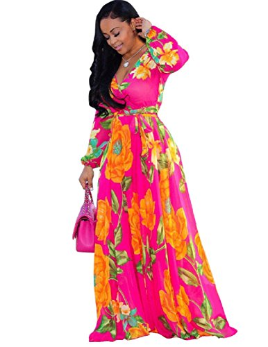 Bushangban Womens Chiffon V-Neck Printed Floral Maxi Dress Long Sleeves Dresses High Waisted Belt Plus Size