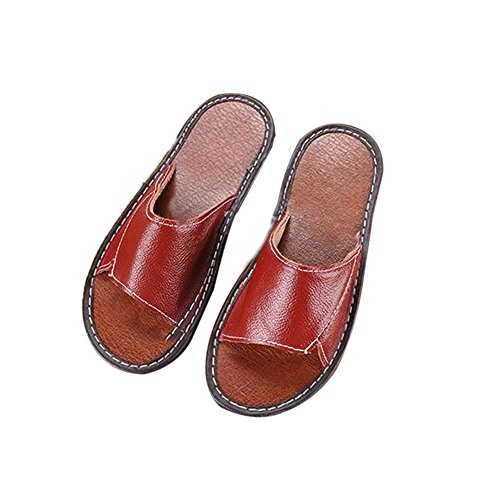 Corium Leather Slippers Cowhide Spring Vin Anti Women Floor TELLW Summer Smelly Rouge Men Autumn Wooden for q4xCw1qd