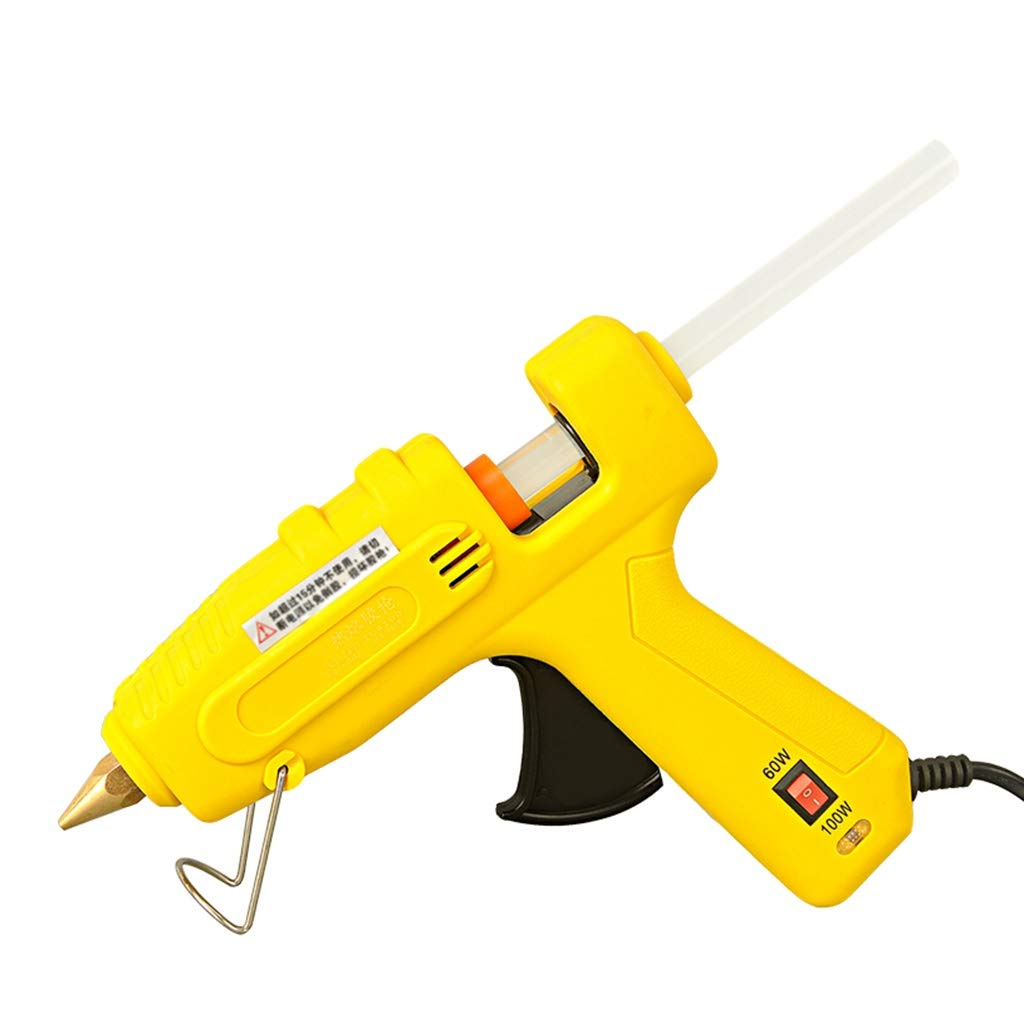 Hot Melt Glue Gun, 60/100W, High Power Temperature Regulation, with 10 Glue Sticks, Fast Heating, Suitable for Quick Repair Tools, Woodworking, Christmas Day Decorations, Yellow (Color : Yellow) by Hong Tai Yang