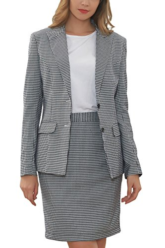 Hanayome Women's Suit Sets Slim Fit Two Pieces Casual Blazer Separate Short Dress MI2 (Grey, 16W) by Hanayome