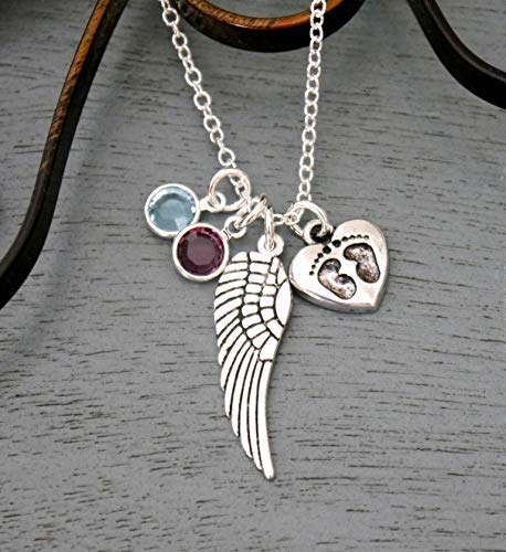 Miscarriages Necklace - Miscarriage Gifts - Multiple Miscarriages - Twin Miscarriage - Angel Wing Necklace - Baby Memorial - 1 2 3 Birthstone Necklace - Baby Feet Heart Necklace - Personalized
