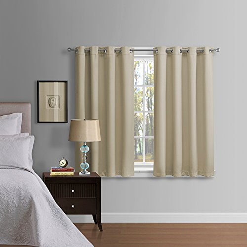 Luxury Homes Thermal Insulated Blackout Curtains with Grommet Ring Top, 52 by 63 Inch - Set of 2 Panels With Matching Tiebacks(Beige)