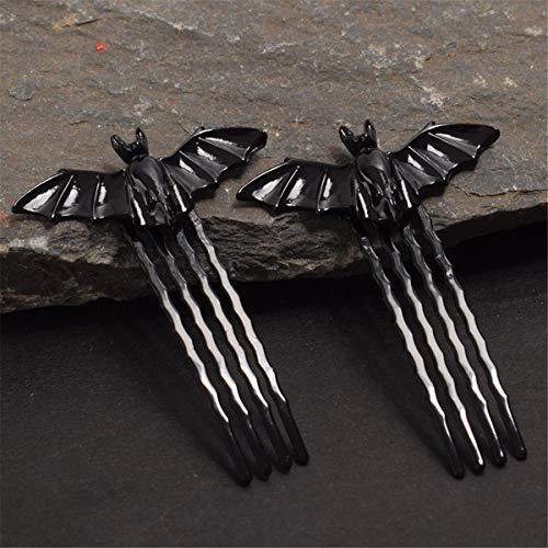 1 Pair Black Bat Hairpin Halloween Fancy Dress Bat Bobby Pin Party Cosplay Props -