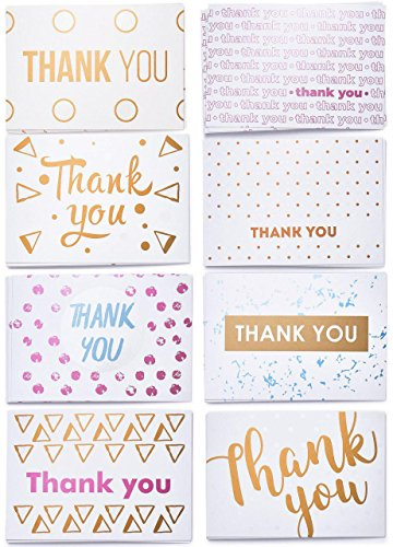 Thank You Cards - Premium Thank You Notes - Bulk Thank You Cards Set in 8 Unique Designs - Includes 40 Cute Thank You Cards and Kraft Envelopes 4x6 inches (8 Note Set)
