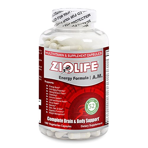 Dr. Jay's Ziolife AM Natural Energy Boost Formula - Lycium Chinese Chaste Tree Green Tea Mycelium Gingko Seed White Willow Papain Cinnamon Bark Flaxseed Chir Pine Leaf Guarana Extracts - 180 Caps by Ziolife