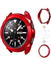 Kakurookie 3 in 1 Watch Cover Accessories Set Compatible with Samsung Galaxy Watch 4 Classic 46mm, TPU Bumper Case + Bezel Ring + 2 Tempered Glass Screen Protector Films (red, 46mm)