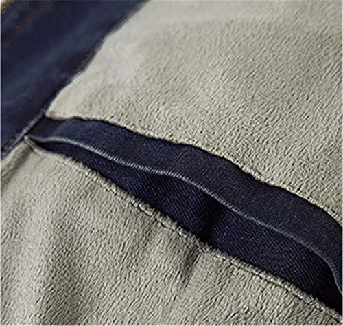 Velours Blousons Denim Et Veste Blue Navy En Chaud Hiver Plus Coton qc0U8