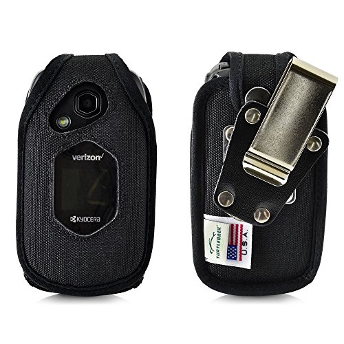 Turtleback Fitted Case for Kyocera DuraXV LTE Verizon Flip Phone Heavy Duty Black Nylon with Ratcheting, Removable Metal Belt Clip Holster FITS ONLY Kyocera DuraXV LTE E4610 Mil Spec 810G PTT