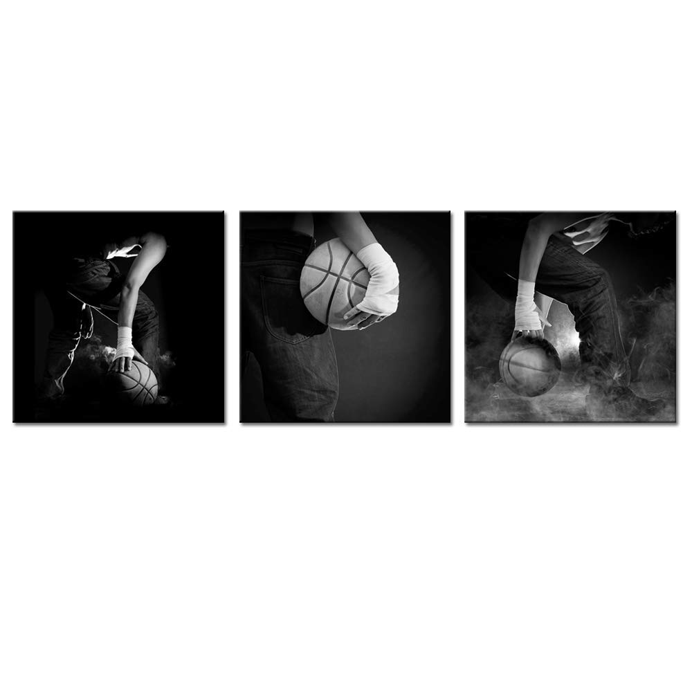 Black and White Canvas Wall Art Set Man Plays Basketball Posters Framed Modern Boys Bedroom Decor Sports Pictures for Wall 12x12inchx3pcs Biuteawal