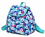 MIETTE Small Backpack Purse Flap Bag | Fits iPad Mini | 11''x9.8''x5.1 | Geometrics, SkyBlue