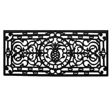 Home & More 900081741 Pineapple Heritage Rubber Doormat, 1'5  x 3'5 , Black