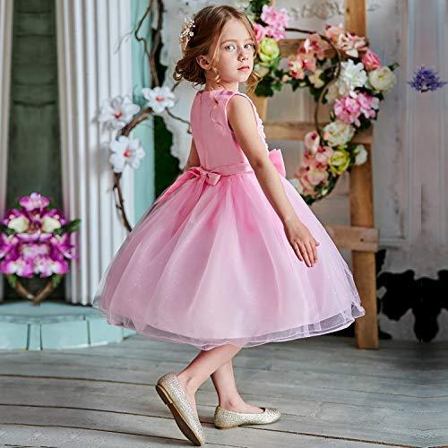 NNJXD Vestito Cerimonia Bambina,Ragazza Gonna a Fiori in Pizzo 3D Senza Maniche Vestito da Principessa delle Feste