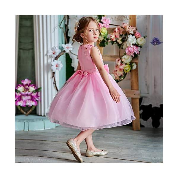 NNJXD Vestito Cerimonia Bambina,Ragazza Gonna a Fiori in Pizzo 3D Senza Maniche Vestito da Principessa delle Feste 5