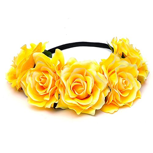 DreamLily Women's Hawaiian Stretch Flower Headband for Garland Party BC12 (Yellow) -