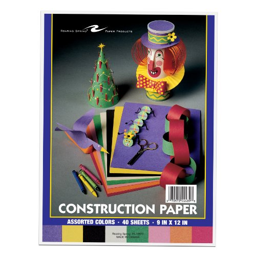 Roaring Spring 9 x 12 Inches Construction Paper - 8 Assorted Colors per Pack, 40 Sheets per Pack (44489)