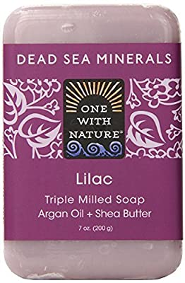 One With Nature Lilac Soap (Pack of 3) With Dead Sea Minerals, Argan Oil and Shea Butter, 7 oz. Each
