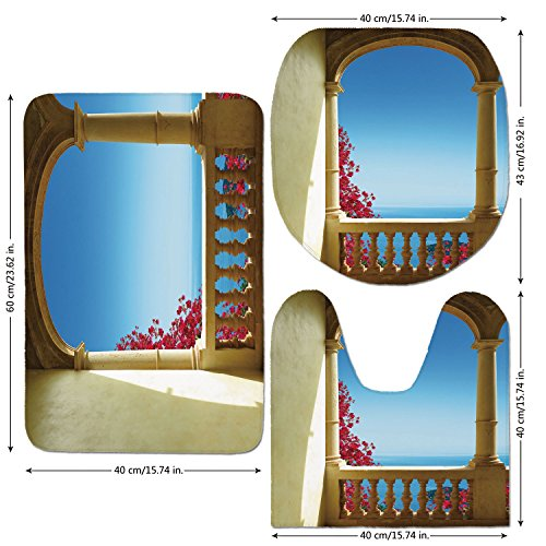 Cheap  3 Piece Bathroom Mat Set,Patio Decor,Ancient Balcony with View to Mediterranean Sea..