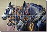 Western Horses Ceramic Tile Mural Backsplash 25.5'' x 17'' - Four Horsepower by John Fawcett