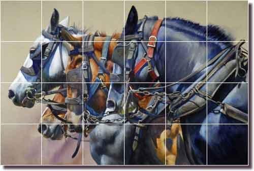 Western Horses Ceramic Tile Mural Backsplash 25.5'' x 17'' - Four Horsepower by John Fawcett