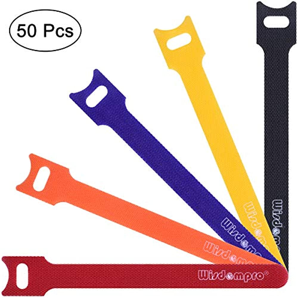 """50pack 6/"""" Black Hook and Loop Self-Attaching Reusable Cable Tie Fastening Tape"""