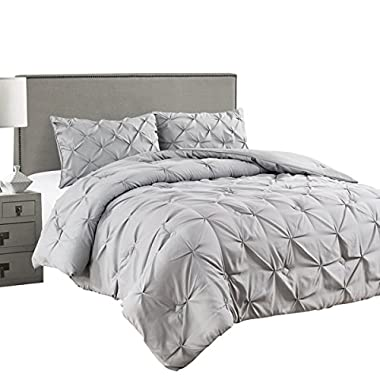 Jackson Hole Home 3 PC Elegant Original Pinch Pleat Pukering Comforter Set, Light Gray, King