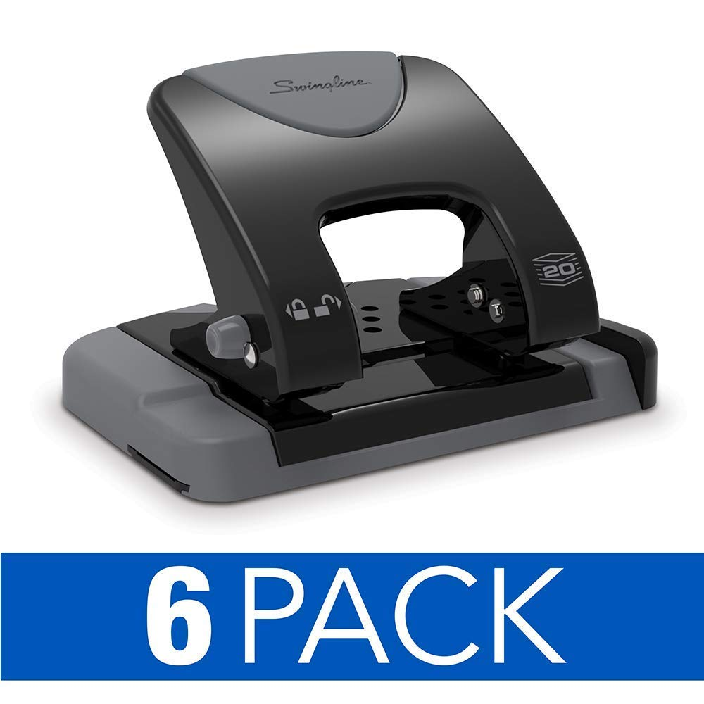 Swingline 2 Hole Punch, Hole Puncher, SmartTouch, 20 Sheet Punch Capacity, Low Force, Black/Gray, 6 Pack (74135CS)