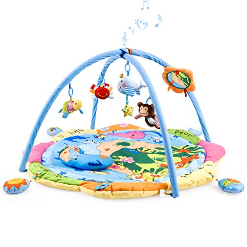 Musical Playmat - Baby Play Gym Mat for 1-2 Babies, Large Musical Activity Gym/Playmat with Removable Crossed Arches & 9 Activity Toys Works as Crawling Pad Tummy Time for 1 - 36 Month Baby Newborn (BLUE-OCEAN)