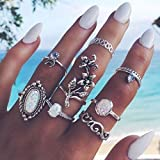 Dolland 8 Pcs Vintage Knuckle Ring Set Boho Flower Opal Joint Nail Ring Set