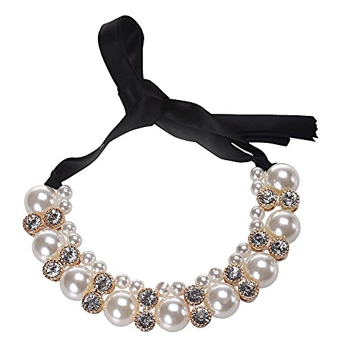 Chunky Pearl Necklace,Haluoo 2 Row Pearl Pendant Choker Necklace Luxurious Freshwater Pearl Rhinestones Bib Collar Statement Necklace Dainty Silk Ribbon Long Chain Necklace For Women (White)