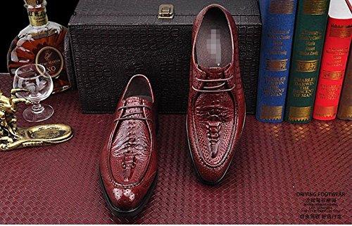 Happyshop (tm) Cuir De Crocodile Pour Homme Lacets Oxford Formel Robe Chaussures Avec Semelle Intérieure Accrue Vin Rouge