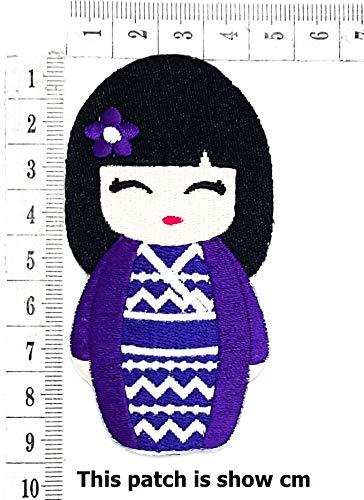 Japanese Doll Dress up Japanese Costume Dress Cartoon Chidren Kids Embroidren Iron Patch/Logo Sew On Patch Clothes Bag T-Shirt Jeans Biker Badge Applique