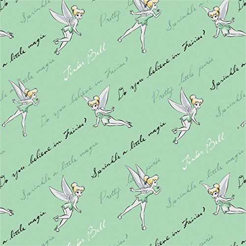 Disney Tinkerbell Do You Believe? In Mint Fabric by the Yard (Tinkerbell Fabric)
