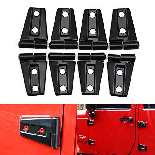 (Door Hinge Cover 2007-2017 Jeep JK Wrangler Unlimited 4-Door - 8PCS(Black))