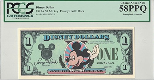 Disney Dollar 1987A $1 Mickey A00269262A PCGS 58 PPQ Choice About New
