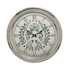 Benzara 66992 Metal Wall Clock 19 D, Silver/White/Black