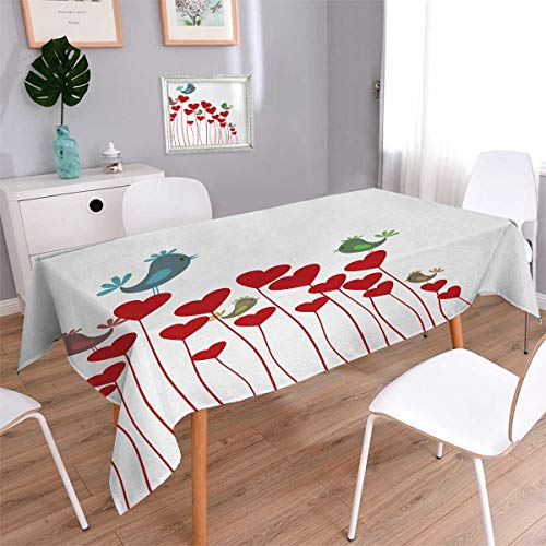 Anmaseven Love Rectangle Rectangular Tablecloth Bird Sings Sitting Hearts Twitting Springtime Garden Valentines Oblong Wrinkle Resistant Tablecloth Ruby Cadet Blue Green Mauve Size: W60 x L120