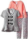 Little Lass Girls' 3 Piece Sweater Set Hi-Low Toggle