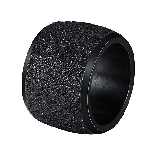 INRENG Women's Men's Stainless Steel Ring Shiny Sequins Pave Sandblast 16mm Wide Wedding Band Black Size 9
