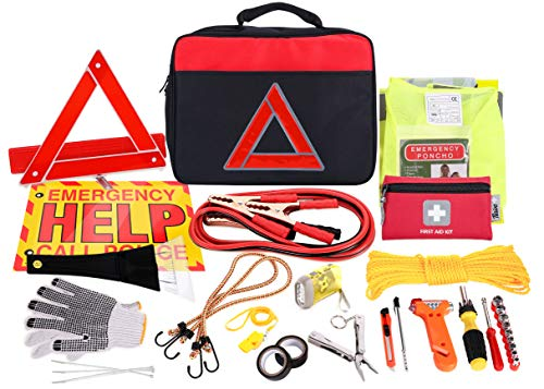 Thrive Roadside Assistance Auto Emergency Kit + First Aid Kit - Square Bag - Contains Jumper Cables, Tools, Reflective Safety Triangle and More. Ideal Winter Accessory for Your car, Truck, Camper