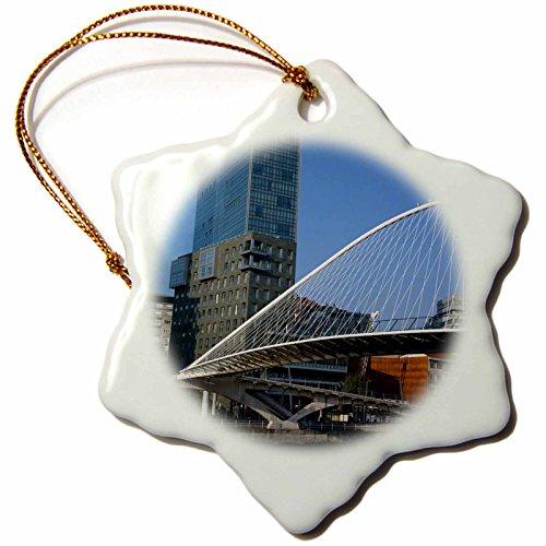 3dRose Spain Zubizuri Bridge Over Rio De Bilbao Eu27 Wbi1268 Walter Bibikow Snowflake Ornament, 3'' by 3dRose