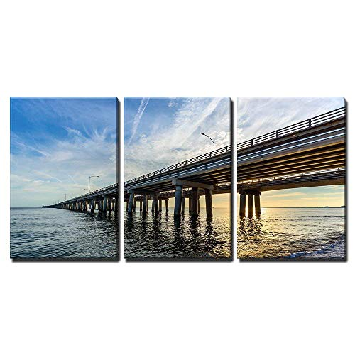 wall26 - 3 Piece Canvas Wall Art - Chesapeake Bay Bridge - Modern Home Decor Stretched and Framed Ready to Hang - 16