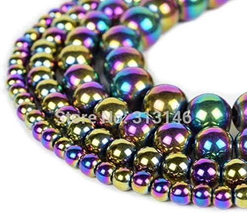 SHENGSHIHUIZHONG Wholesale Natural Stone Rainbow Colorful Hematite Strand Beads 4 6 8 10MM 15 Size : 10mm Approx 38 pcs