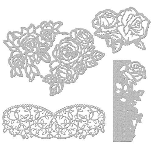 Apipi 4 Pcs Metallic Die Cuts Rose Embossing Dies Stencil for Scrapbooking Card Making, Album, DIY Craft