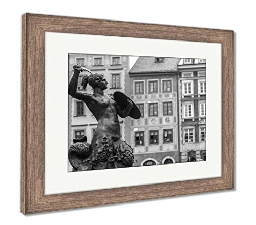 Ashley Framed Prints Mermaid in Warsaw, Wall Art Home Decoration, Black/White, 26x30 (Frame Size), Rustic Barn Wood Frame, AG5924746