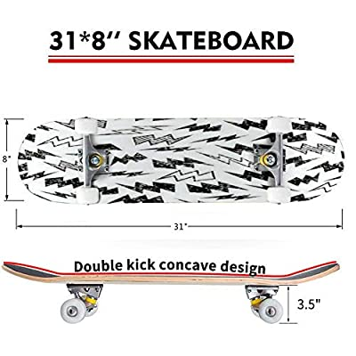 Classic Concave Skateboard Black and White Distressed Lightning Bolt Seamless Repeat Wallpaper Longboard Maple Deck Extreme Sports and Outdoors Double Kick Trick for Beginners and Professionals : Sports & Outdoors
