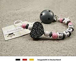 Personalised Baby Dummy Clip Chain Girls Motif Bear /& Pink Heart Pacifier Soother Holder with Preferred Name