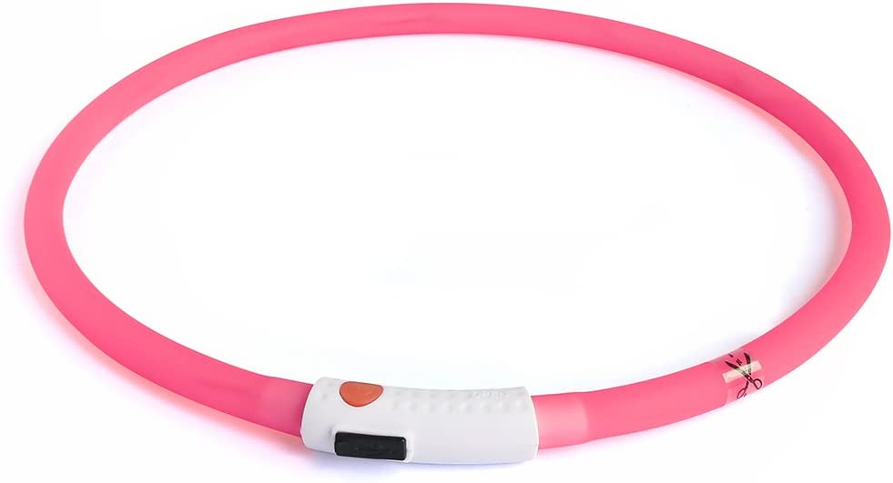 LED Dog Collar TM BSeen Medium and Large Dogs Pink Good for Small USB Rechargeable Light up Safety Pet Collar