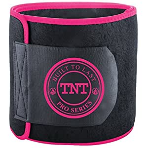TNT Pro Series Waist Trimmer Weight Loss Ab Belt - Premium Stomach Fat Burner Wrap and Waist Trainer (X-Small, Pink)